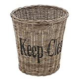 Grafelstein Papierkorb Keep CLEAN aus Rattan Mülleimer Rattankorb mit Schrift Hamptons Korb