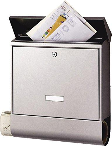 BURG-WÄCHTER, Briefkasten mit Zeitungsbox A4 Einwurf-Format, Rostfreier Stahl, Seculine 2500 Ni