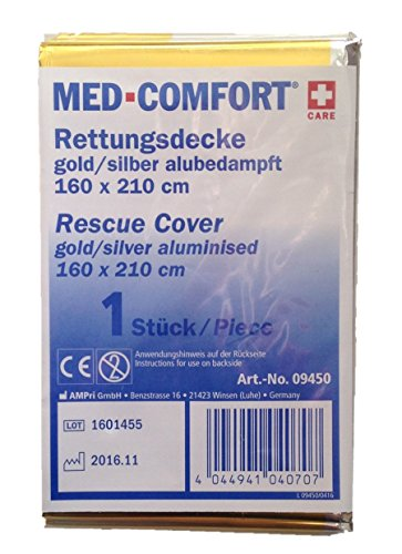 MED-COMFORT Erste Hilfe Rettungsdecke Gold-Silber-Folie 160 x 210cm