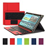 Besmall Wireless Touch Bluetooth Drahtlose Tastatur mit QWERTZ Tastaturlayout für Android Windows Tablet Smartphone(Mit PU-Hülle,Rot)