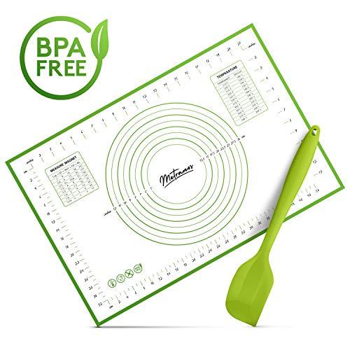 Metranos Backmatte (60x40 cm) - Inklusive Teigschaber - Praktische Silikon Backmatte - Langlebige Backunterlage - Perfekt für jeden Backvorgang - wiederverwendbares Backpapier für jeden Haushalt