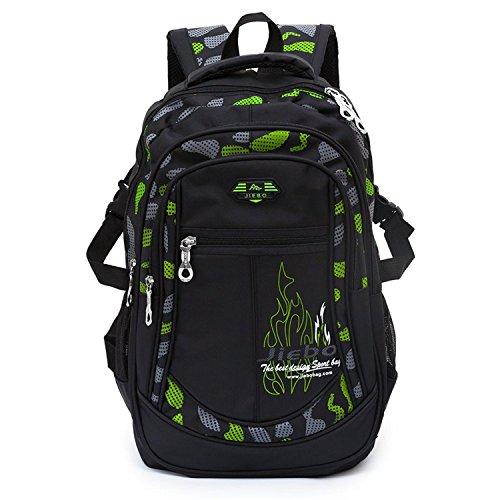 Jungen Schulrucksack Rucksack Jugendlichen Schultasche Outdoor Freizeitrucksack Schwarz und Grün