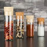 25x kleine Gewürzgläser mit Natur-Korken  Dekorative Glasfläschchen  Hochwertig und Starkwandig  (130 x Ø30 mm)