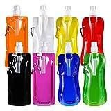 Faltbare Wasserflasche mit Karabiner, Weyty Wiederverwendbare Wasserflasche/leicht/ auslaufsicher/ungiftig / tragbare Falten Wasser Tasche für Outdoor-Sportarten Reiten Wandern 8 Farben 8 Stück