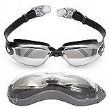 Bezzee-Pro Profischwimmbrille gespiegelte Gläser - Antibeschlagbeschichtung – Wasserdicht - Anpassbar - Schwimmbrille für Erwachsene 180 ° Weitwinkel Sicht (schwarz)