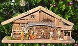 BTV Weihnachtskrippen von Ölbaum, Krippe in Dunkelbraun, geflammt, Natur, gebeizt XXL 70 cm Weihnachtskrippe, mit LED + Brunnen + Dekor, Massivholz Natur gebrannt -