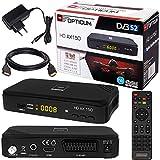 SATELLITEN SAT Receiver  HB DIGITAL Set: Hochwertiger DVB-S/S2 Receiver mit PVR Funktion Aufnahmefähig + HDMI Kabel vergoldet (HD Ready HDTV HDMI SCART USB Koaxial Ausgang Opticum AX150 )