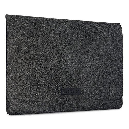 KANVASA Filz Laptop Sleeve 15/15,6 Zoll Anthrazit - Premium Laptoptasche Hülle Laptophülle mit schwarzem Leder - Tasche für Notebook von ASUS Acer Lenovo HP Dell UVM. - Edle Leder Filztasche