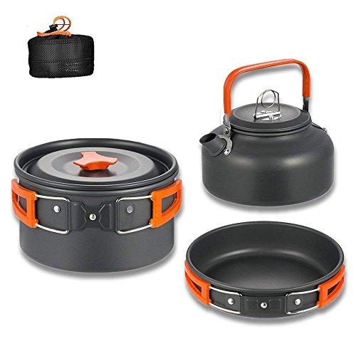 Aitsite Camping Kochgeschirr Kit Outdoor Aluminium Leichte Camping Pot Pan Kochen Set für Camping Wandern (Orange)