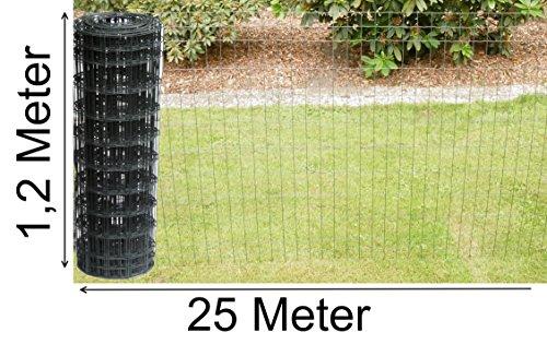 Schweißgitterzaun als Gartenzaun Wildzaun Gitterzaun in grau anthrazit 1,0 m - 1,5 m hoch metall eisen Zaungitter Zaundraht Gitterdraht Drahtgitter Maschenzaun (1,2 m hoch 25 m lang)