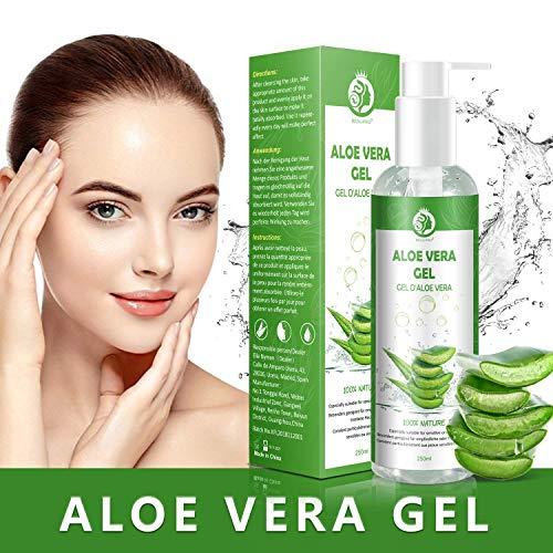Aloe Vera Gel - 100% Bio für Gesicht, Haare und Körper – Vegan, Rein und Natürlich Feuchtigkeitscreme - Ideal für Sonnenbrand Reparieren, trockene strapazierte Empfindliche Haut - After Sun, 250ml