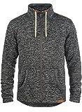 !Solid Luki Herren Fleecejacke Sweatjacke Jacke Mit Stehkragen Und Melierung, Größe:M, Farbe:Dark Grey Melange (8288)
