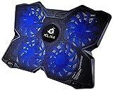 KLIM Wind Laptop-PC Kühler – Leistungsstark wie kein anderer – Schneller Kühlvorgang - 4 Lüfter Belüfteter Notebookständer Gamer Gaming Stützhalterung