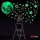 Konsait Leuchtsticker Wandtattoo, 435pcs Leuchtsterne Punkten und Mond Wandsticker Wandaufkleber DIY für Schlafzimmer Jungen Mädchen Kinderzimmer