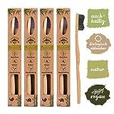 4er Pack  Bambus Zahnbürste mit reinem Bambus-Holz  vegan  biologisch abbaubar  100% frei von BPA  Borsten mit Bambus-Holzkohle für beste Sauberkeit