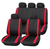 Upgrade4cars Auto-Sitzbezüge Set Schwarz Rot | Auto-Sitzschoner Universal | Auto-Zubehör Innenraum Schonbezüge B1-rot