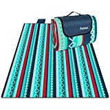femor 200 x 200 cm Picknickdecke XXL Picknick-Matte Outdoor wasserdichte sanddichte Stranddecke tolle Fleece wärmeisoliert mit Tragegriff (Grün gestreift)
