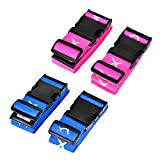 TechSmile 4-Stück Koffergurt Gepäckgurt Kofferband (blau + stieg rot)