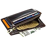 HASAGEI RFID Mini Geldbeutel Herren Geldbörse Leder Kreditkartenetui mit Banknoten und Münzfach 10 Karten Slim Wallet Leder Portemonnaie Portmonaise Brieftasche Portmonee Braun