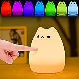 LED Nachtlicht USB Katze Nachtlampe Kinder Silikon Nachttischlampe mit 7 Farbwechsel Stimmungslicht süße Kinderlampe Touchlampe für Baby Erwachsene Freundin Geburstag