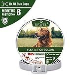 DEWEL 63cm Zecken Halsband für Hunde und Katze, Floh Zecken Kragen Floh-und Zecken Prävention Halsbänder, Verstellbar Wasserdicht Hund Flohhalsband 8 Monate Schutz