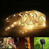 TurnRaise 12 M 100 LED Solar Garten Lichterkette, Wasserdicht IP65 Led Lichtschlauch ,Außenlichterkette, LED Lichterketten Für Hochzeit, Party und Weihnachten, Weihnachtsbeleuchtung (Warmweiß)