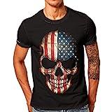 Herren Shirt Slim Fit UFODB Männer T-Shirt Kurzarm Sweatshirt Rundhals Printed Sommer Sportshirt Shirts Muskelshirt Blusenshirt Freizeithemd Bluse Tops