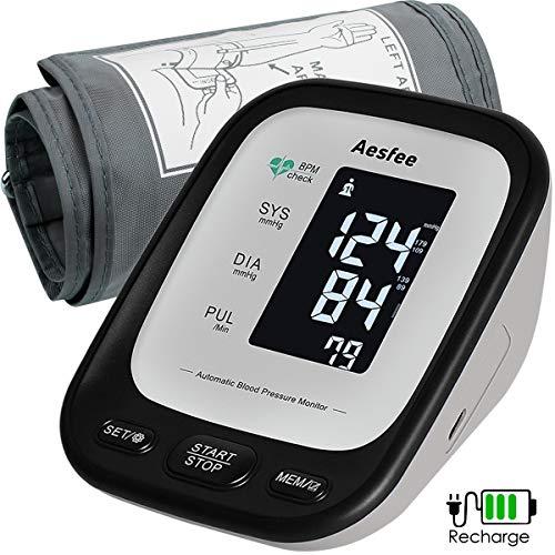 Oberarm-Blutdruckmessgerät USB Aufladbar, Elektronisches Blutdruckmessgerät Automatische Messung von Blutdruck und Herzfrequenz, 22-42cm große Manschette, unregelmäßiger Herzfrequenzsensor