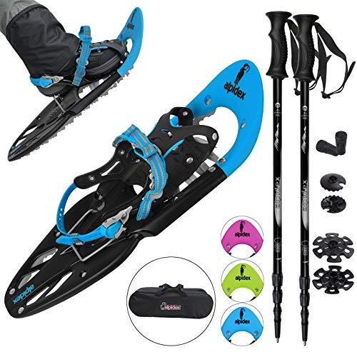 ALPIDEX Schneeschuhe 25 INCH für Schuhgröße 35-45, bis 130 kg, mit Double-Traction Bindung und inklusive Tragetasche - wahlweise mit oder ohne Stöcke erhältlich