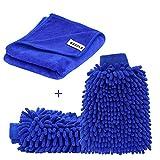 [Große Version Handtuch] SYCEES 2 Stücke Wasserdicht Mikrofaser Autowaschhandschuh und 1 Stück Microfasertuch Set, weicher Korallen Auto Chenille Waschhandschuh Handschuh mit Reinigungstuch Trokentuch Poliertuch für Autowäsche