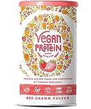 Vegan Protein | ERDBEER | Pflanzliches Proteinpulver aus gesprossten Reis, Hanfsamen, Erbsen, Chia-Samen, Leinsamen, Amaranth, Sonnenblumen- und Kürbiskernen | Mit Verdauungsenzymen | 600 Gramm Pulver