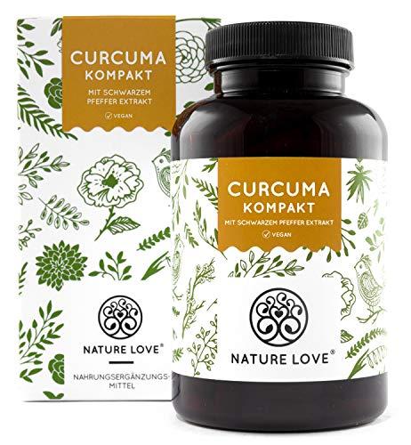 NATURE LOVE Curcuma Extrakt Kompakt. NEU: Curcumin Gehalt EINER Kapsel entspricht dem von ca. 15.000mg Kurkuma - Extra-Hochdosiert aus 95% Extrakt - Laborgeprüft, vegan, hergestellt in Deutschland