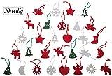 Weihnachtsbaumschmuck Deko-Anhänger aus Filz (Polyester), 30-teilig  50x50x3mm, verschiedene Advent Motive mit Schlaufe in Rot, Grün und Weiß
