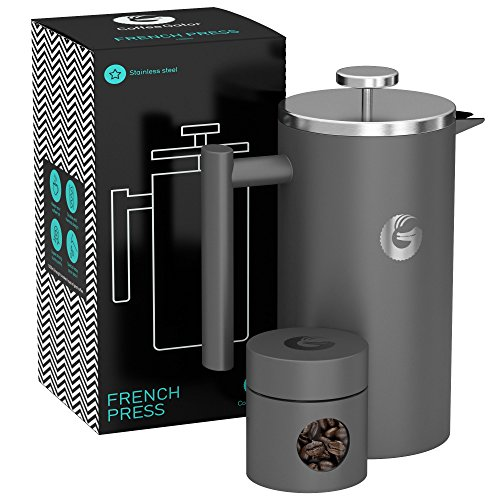 FRENCH PRESS / KAFFEEBEREITER / TEEBEREITER 1 Liter aus Edelstahl von Coffee Gator - Doppelwandige Französische Kaffeepresse um Kaffee länger warm zu behalten - Kaffeekanne in graumatt - Mini Kaffeedose gratis dazu