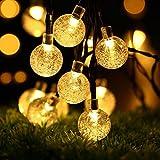 ECOWHO Solar Lichterkette Außen mit LED Kugel 7.5m 40 LED Solarbetriebene Lichterketten für Innen, Garten, Hochzeit, Party, Weihnachten(Warmweiß)