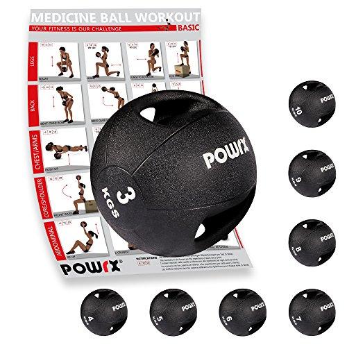 Medizinball mit Griffen Profi 3 - 10 kg von POWRX | schwarz Gewichtsball Studioqualität | schwarz (3 kg)