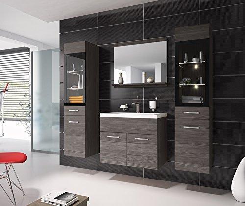 Badezimmer Badmöbel Rio XL LED 60 cm Waschbecken Bodega (Grau) - Unterschrank 2x Hochschrank Waschtisch Möbel