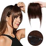 Clip in Pony 100% Remy Echthaar Fringe Bangs One Piece Haarteil In Front Hair Extension Verlängerung natürliche glatt Mittelbraun#