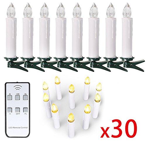 10/ 20/ 30/ 40 er Weinachten LED Kerzen Lichterkette Kerzen Weihnachtskerzen weihnachtsbaum kerzen mit Fernbedienung Kabellos (Weiss, 30er)