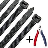 Kabelbinder 300 mm x 7,6 mm, UV-Beständig ultra starke Kabelbinder mit 50 kg Zugfestigkeit, Schwarz 100 Stück, Hitzebeständig, Langlebig
