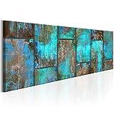 decomonkey Bilder Abstrakt 150x50 cm 1 Teilig Leinwandbilder Bild auf Leinwand Vlies Wandbild Kunstdruck Wanddeko Wand Wohnzimmer Wanddekoration Deko Holz Aquamarine modern