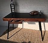 Wholesaler GmbH Sekretär Schreibtisch Konsolentisch mit Zwei Schubladen schwarz Mokka Kolonialstil 120 x 60 x 75 cm
