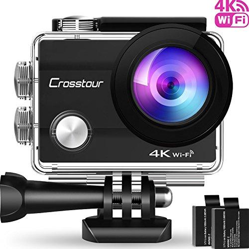 Action Kamera 4K CROSSTOUR Unterwasserkamera Wi-Fi wasserdicht Sports Cam Ultra Full HD 2' LCD 170°Ultra Weitwinkel 30M Helmkamera mit 2 Batterien und kostenlose Accessoires (4K Wi-Fi)