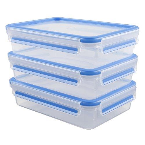Emsa 515645 3-teiliges Frischhaltedosenset, 1.2 Liter, Transparent/Blau, Clip & Close