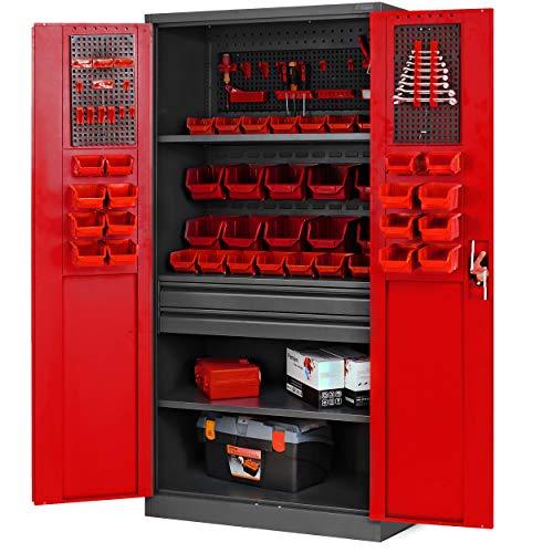 Werkzeugschrank TC02AM Werkstattschrank mit Schubladen Flügeltüren 3 Fachböden Pulverbeschichtung 185 cm x 92 cm x 50 cm (anthrazit-rot)