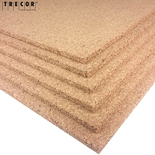 TRECOR Pinnwand Korkplatte Format: 1000 x 500 mm - Stärken: 2 - 20 mm - hochwertige Korkplatte - hochelastisch und antistatisch - Einseitig geschliffen für bessere Optik | wählen Sie von 2 - 20 mm Stärke (10 mm)