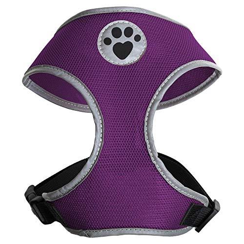 igadgitz Home U7055 - Hundegeschirr, Welpengeschirr, Gassi Dog Harness reflektierenden Markierungen & sicherer Verschlussschnalle - Lila - Klein