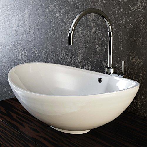 VILSTEIN Keramik Waschbecken Aufsatz-Waschbecken Aufsatz-Waschschale Waschtisch oval weiß 60 cm
