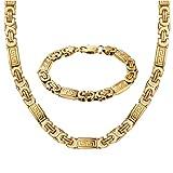 Masarwa Halskette, Königskette, mit 18-karätigem Gelbgold überzogenem Edelstahl, 61 cm/22 cm, mit Samtbeutel