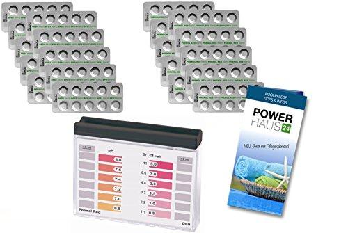 POWERHAUS24 Pooltester für Chlor und pH Wert mit 200 Reagenztabletten je 100 x Chlor DPD1 und 100 x pH Phenol Red